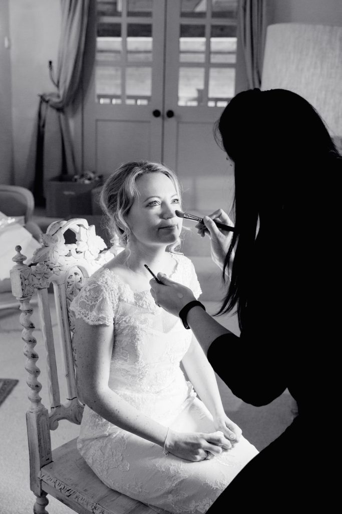 bridal make up and hair, Upwaltham Barns wedding venue, West Sussex